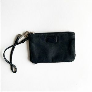Coach black with logo zipper wristlet